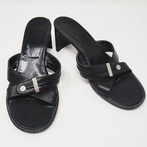 Chanel Heels Black Sandals Sz 36.5 (6.5) Silver
